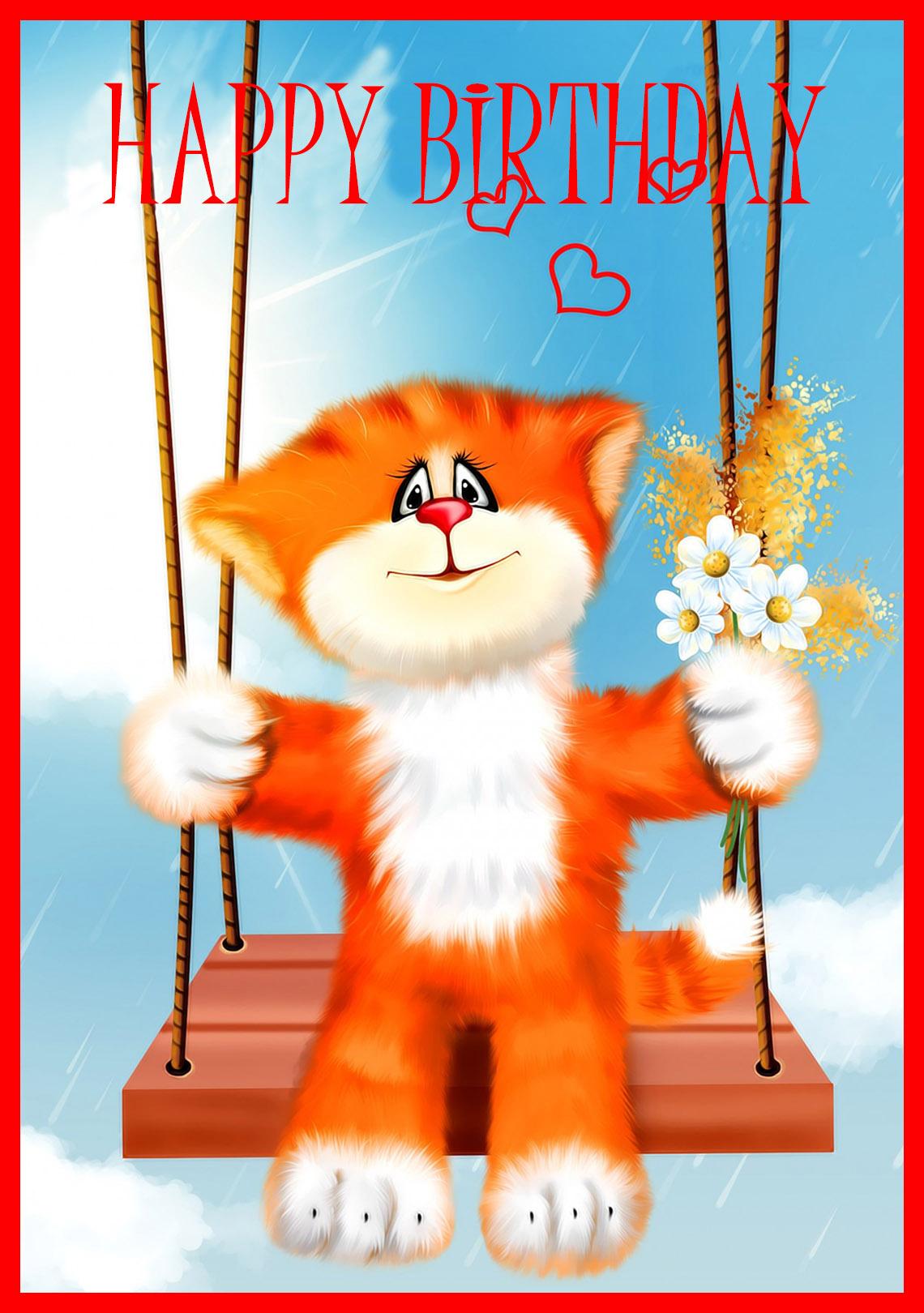 kitten in swing happy birthday card
