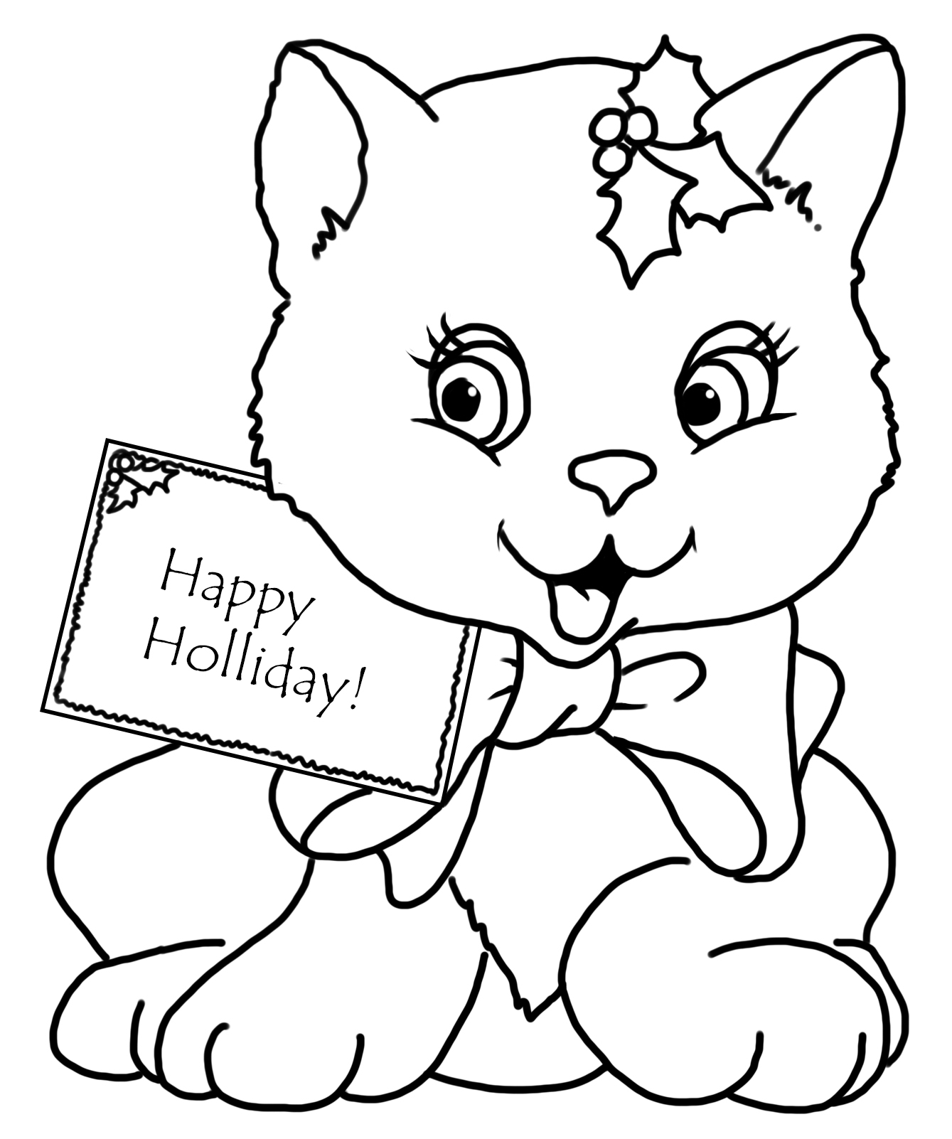 christmas cat coloring pages - photo#8