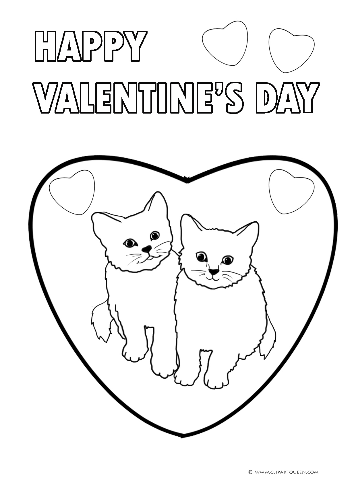 cute kittens in a heart and greeting - Valentines Coloring Pages