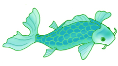 blue-green koi fish drawings
