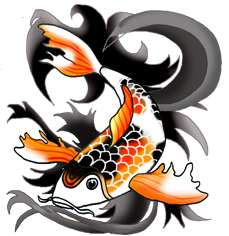 koi fish black waves JPEG