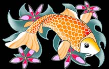 koi fish drawings flowers black