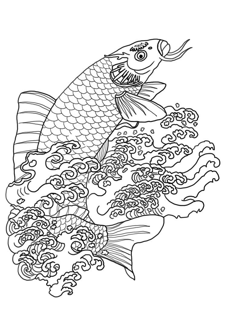 drawing of koi fish in water with waves