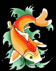 koi fish waves black