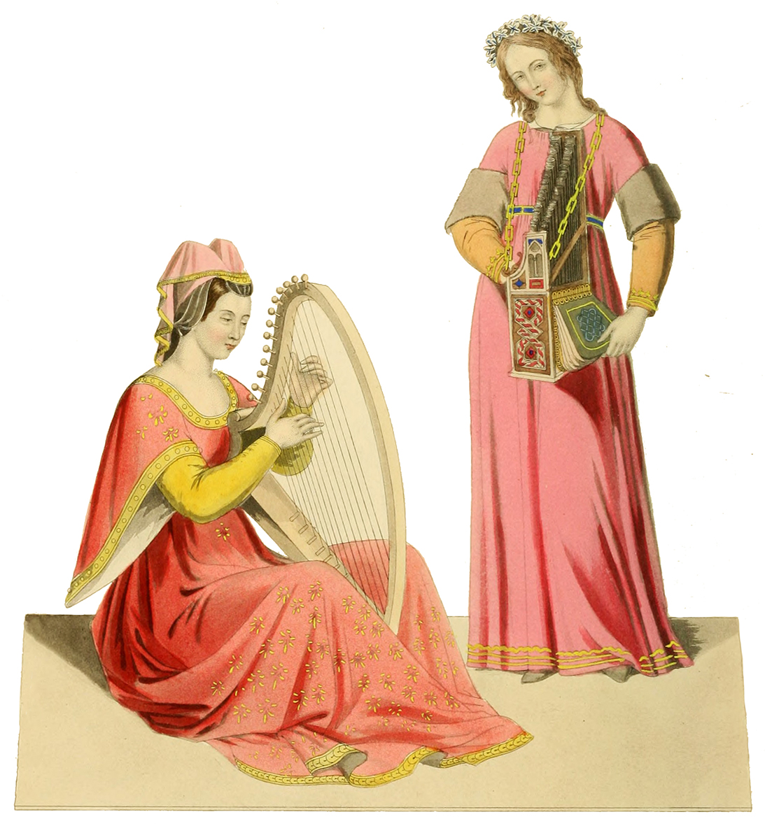 ladies early 14th century playing harp and organ