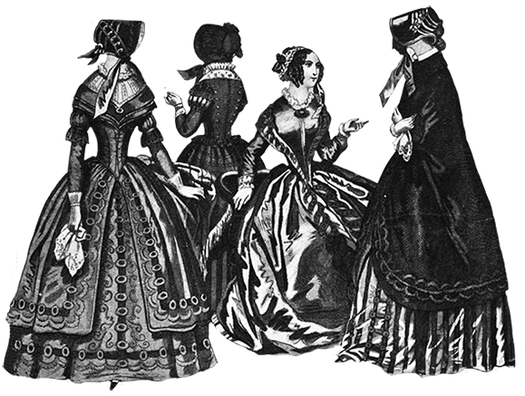 crinolines and laced waists Victorian fashion