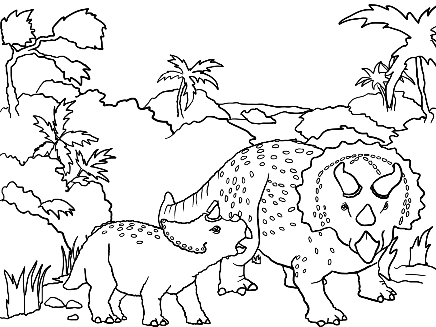 landscape with two dinosaur