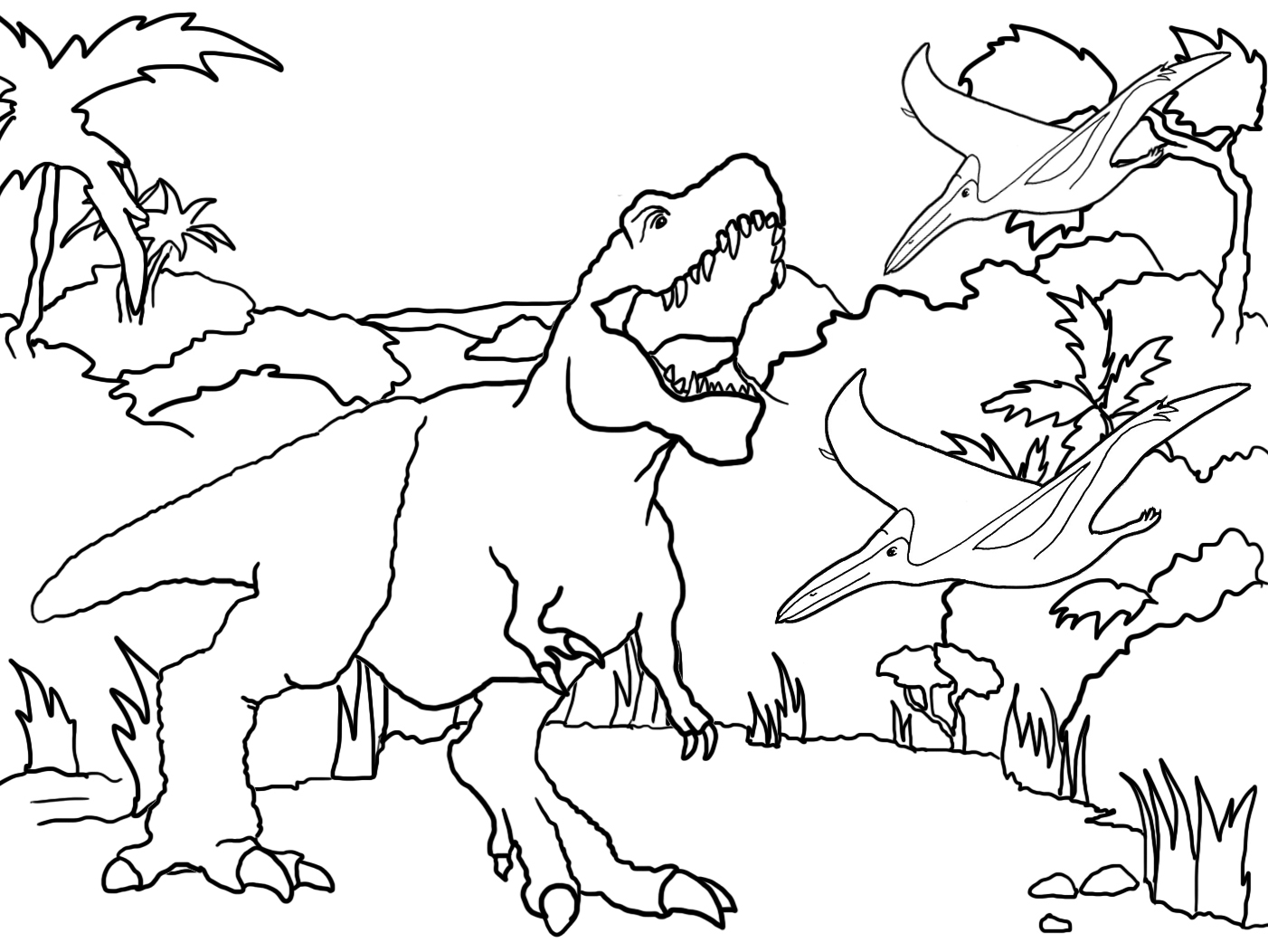 landscape with Tyrannosaurus rex and flying dinos