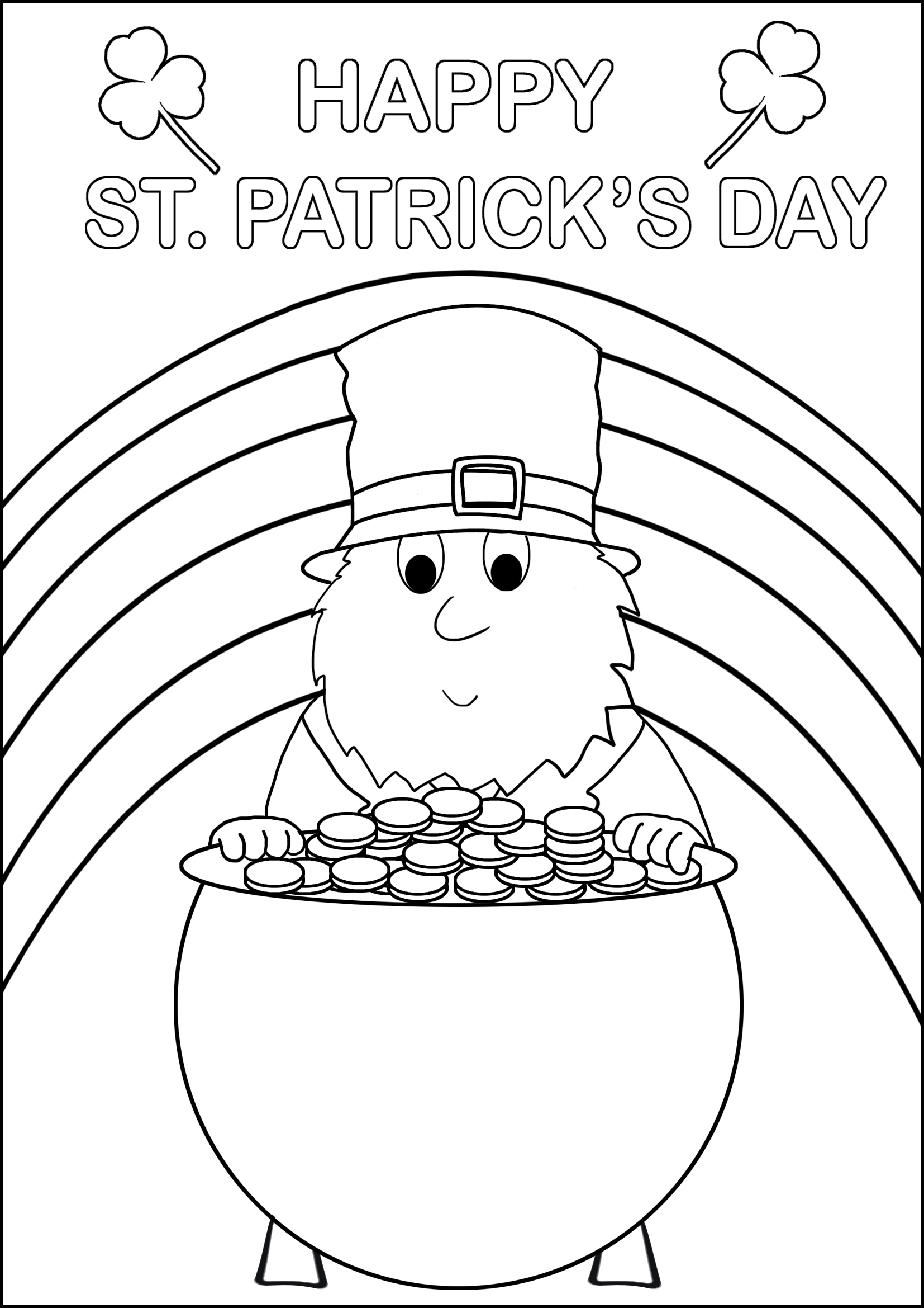 leprechaun and pot with gold for coloring
