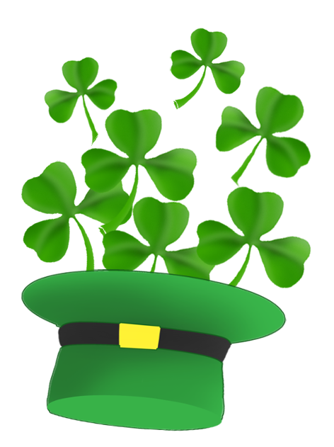 leprechaun hat and st. Patrick's day clover