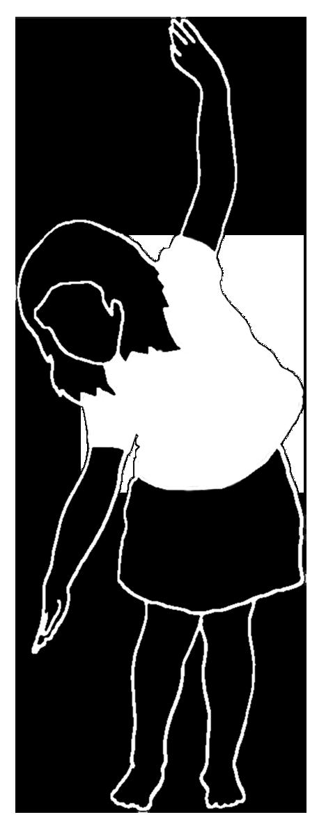 silhouette of little girl dancing white shirt