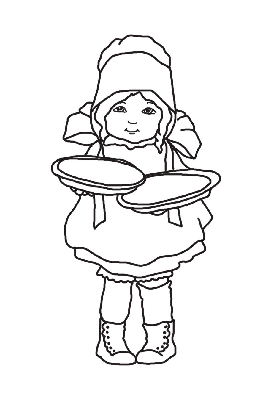 pilgrim girl with thanksgiving pies