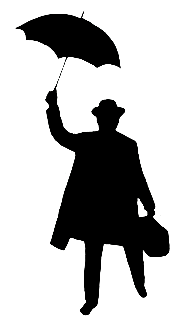 silhouette man with umbrella and bag