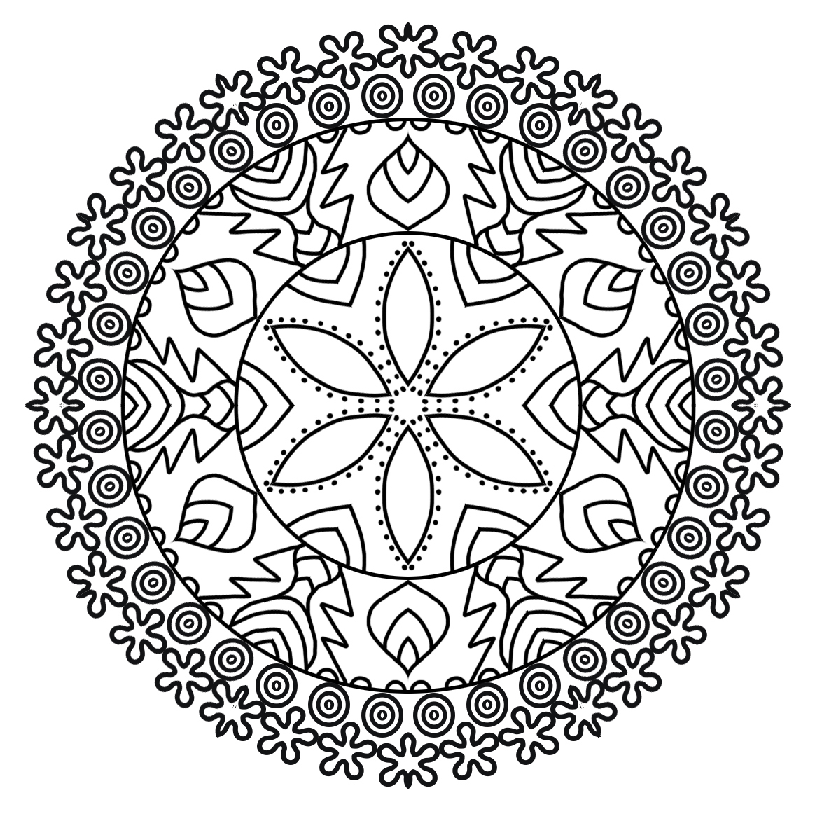 Mandala patterned coloring page