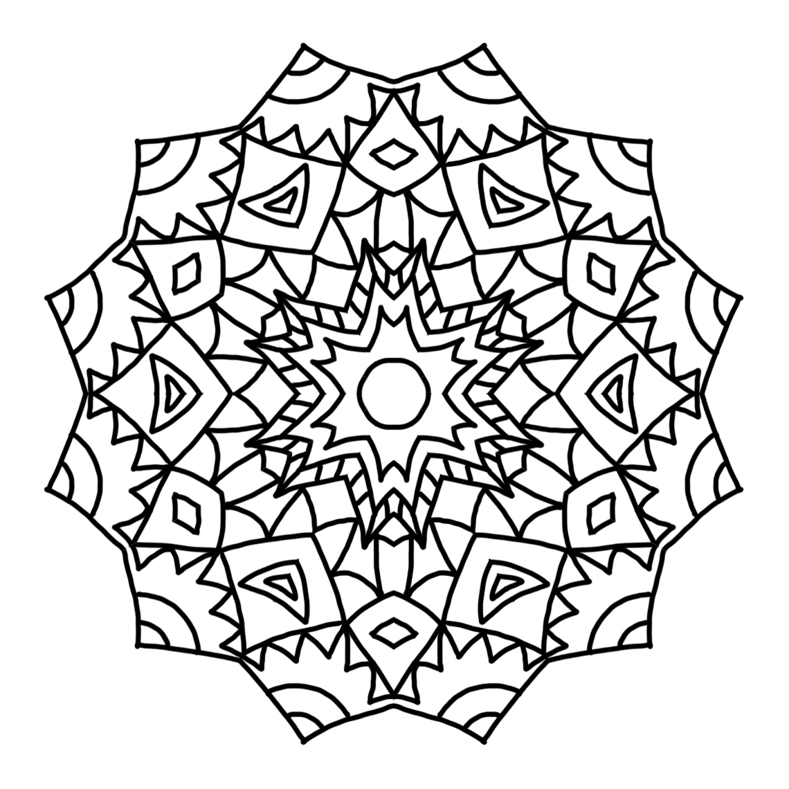 kaleidoscope mandala for coloring
