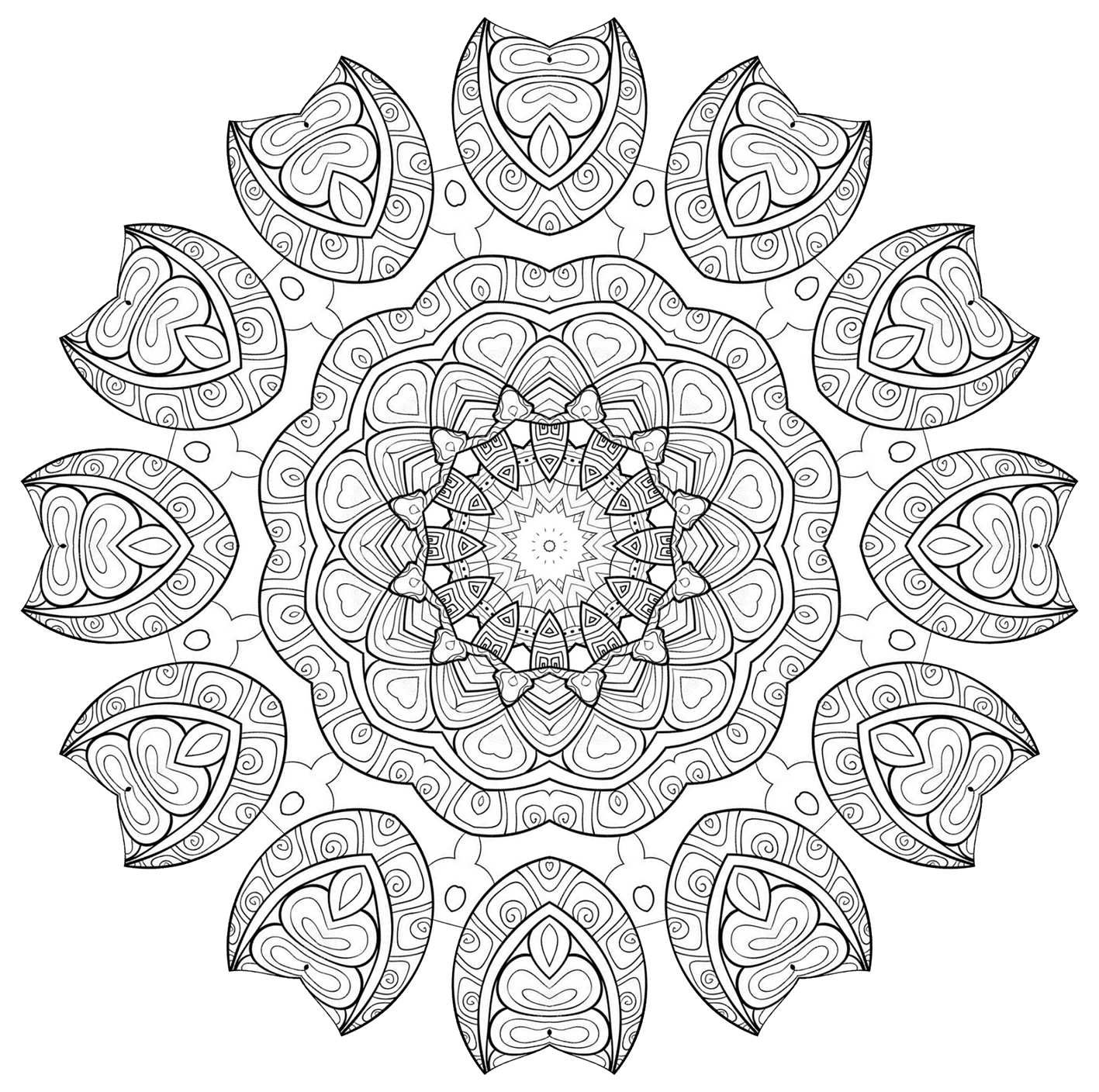 mandala with hearts pattern