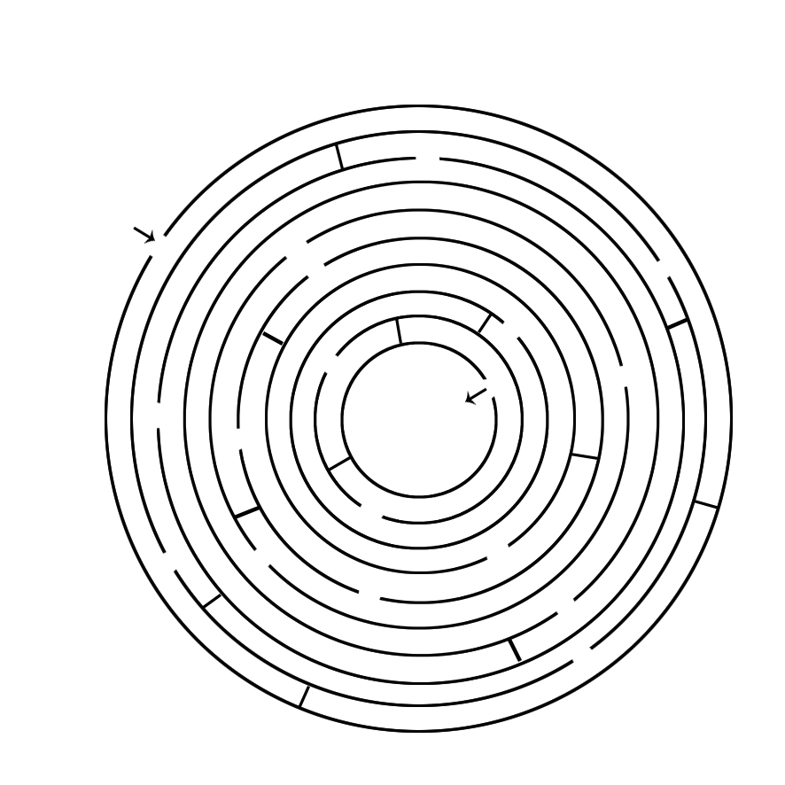 maze circle from outer circle to center