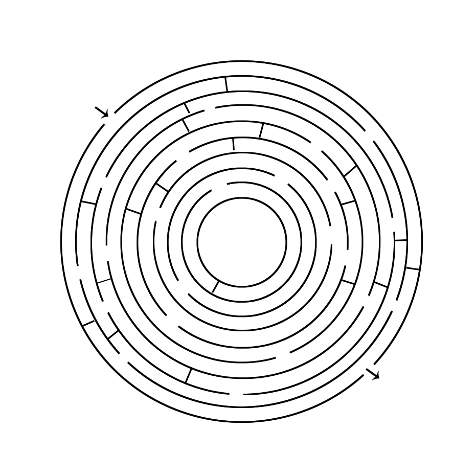maze circle from edge to edge