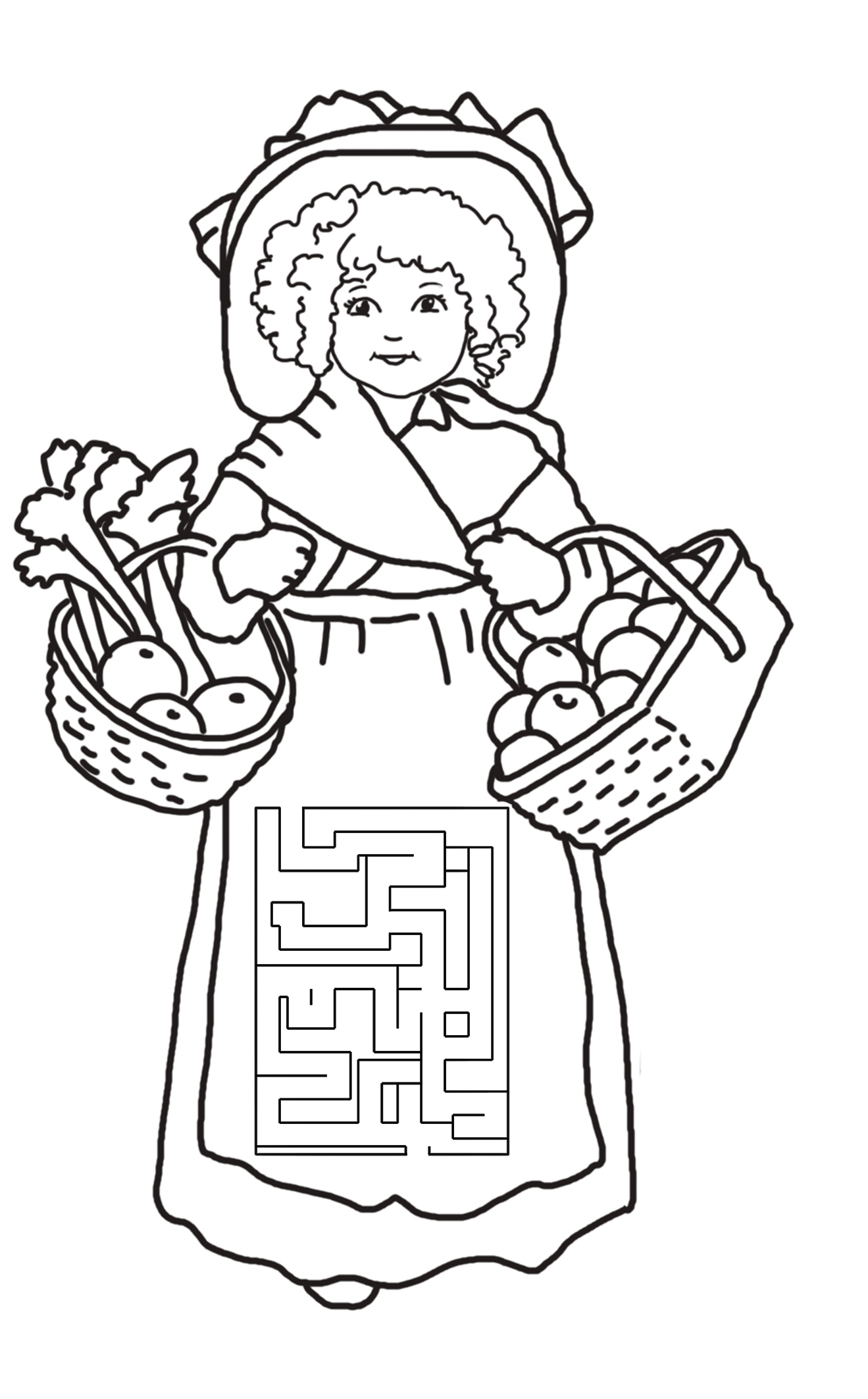 maze for thanksgiving girl with fruit