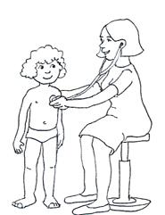 doctor child stethoscope black white
