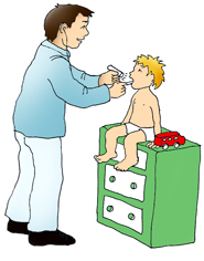 doctor examinating sick child