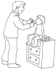 doctor examinating child black white