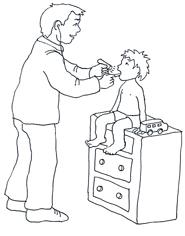 doctor examinating child black white