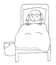 sick child in bed clipart