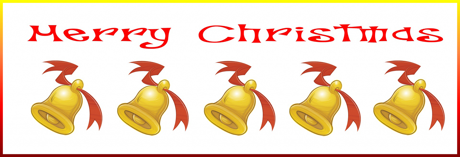 Merry Christmas border with bells