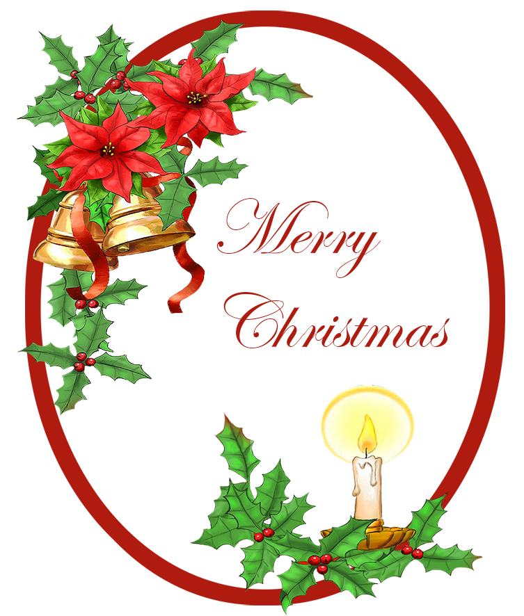 Merry Christmas greeting with bells holy candle
