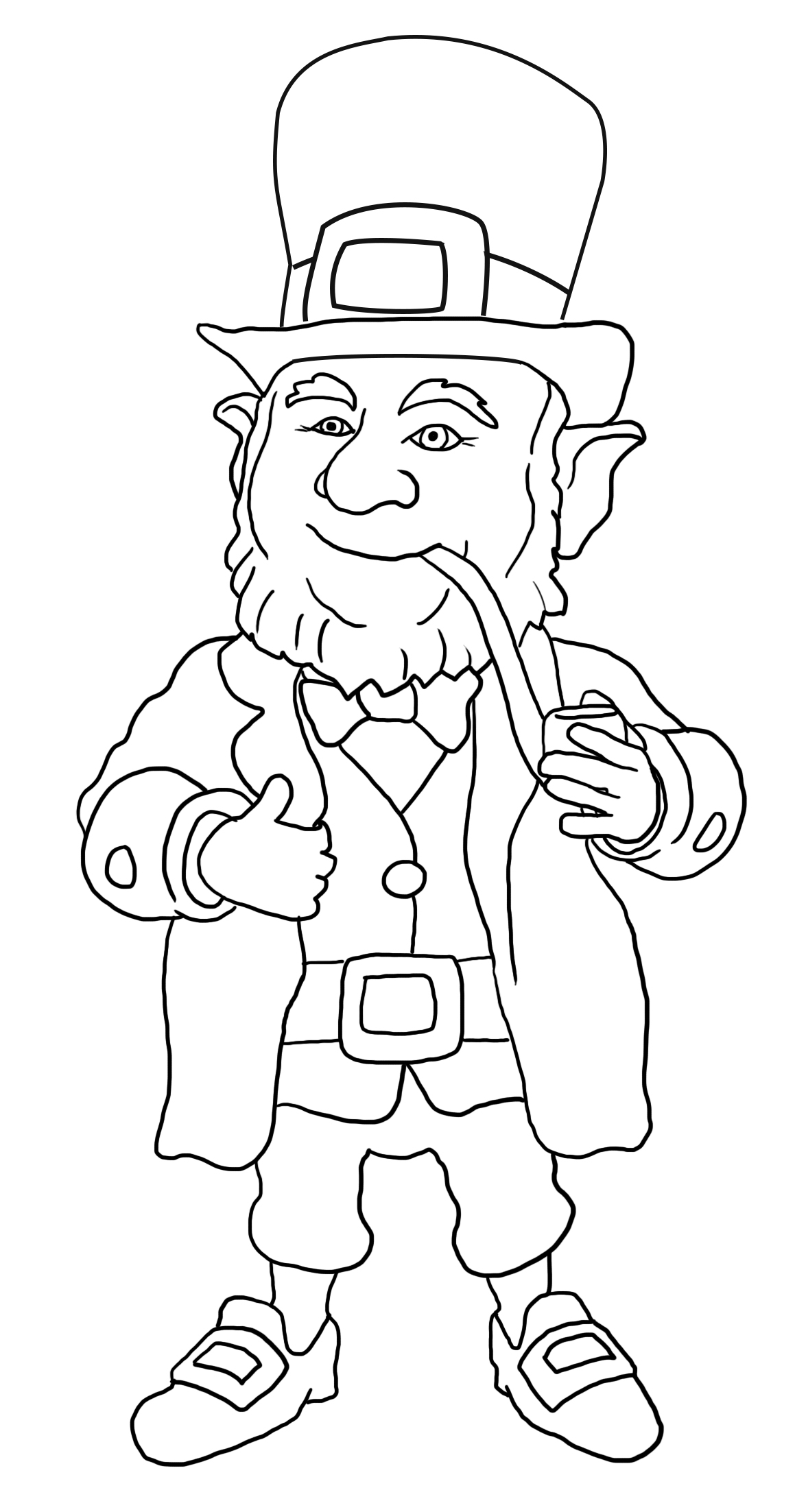 funny Irish leprechaun for coloring