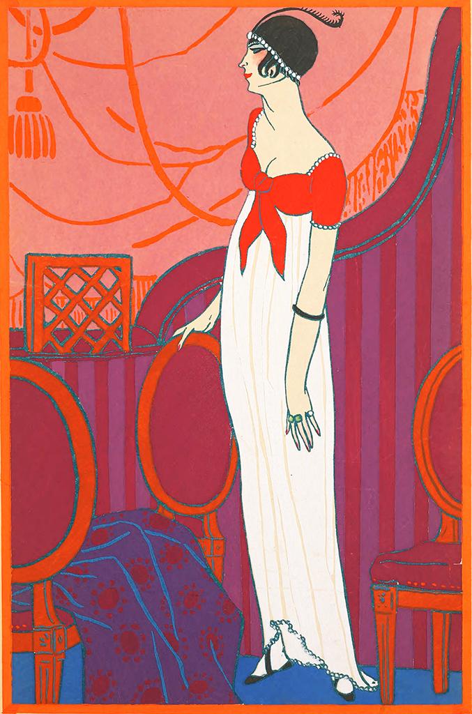 Red Art Deco Art Nouveau postcard