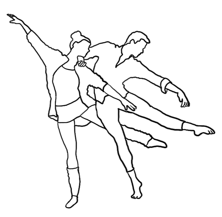outlined silhouette modern dance