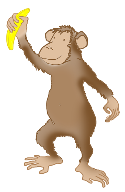 drawing of monkey with banana