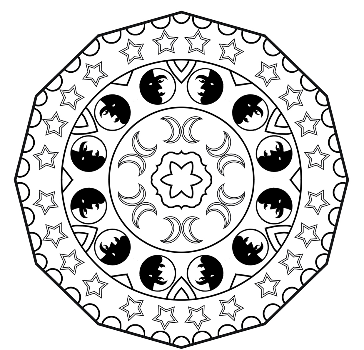 Moon and star mandala