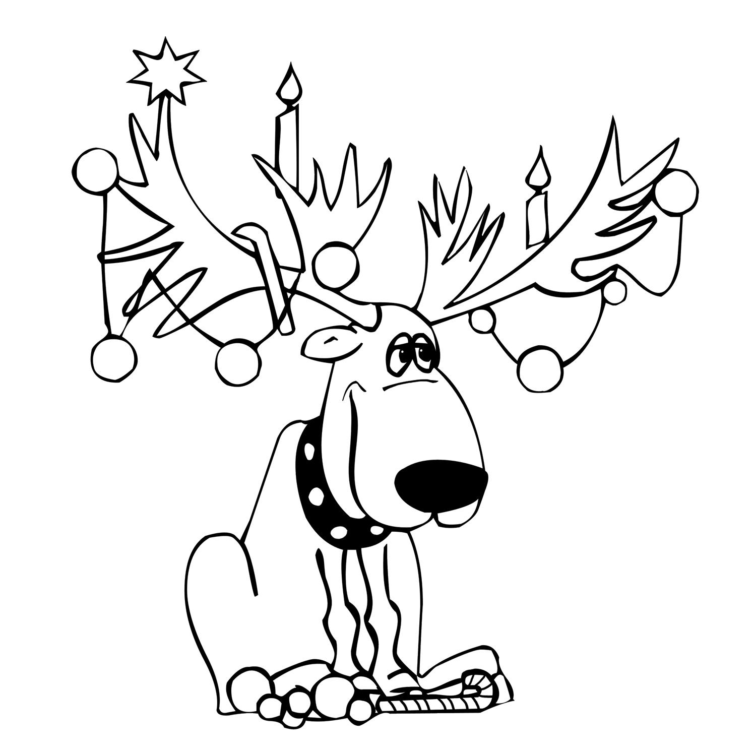 Funny coloring moose made up like Christmas tree