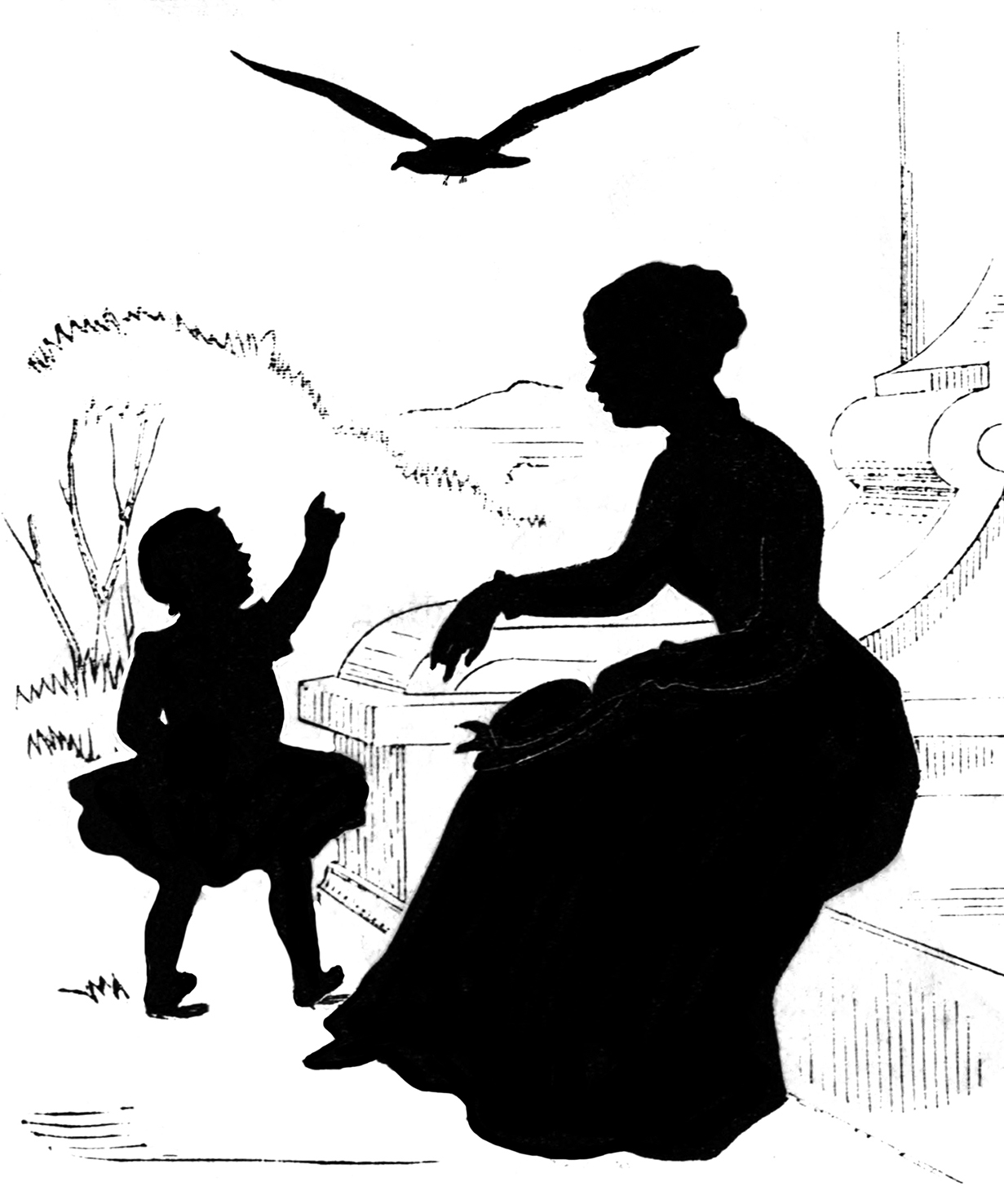 victorian silhouette mother child bird