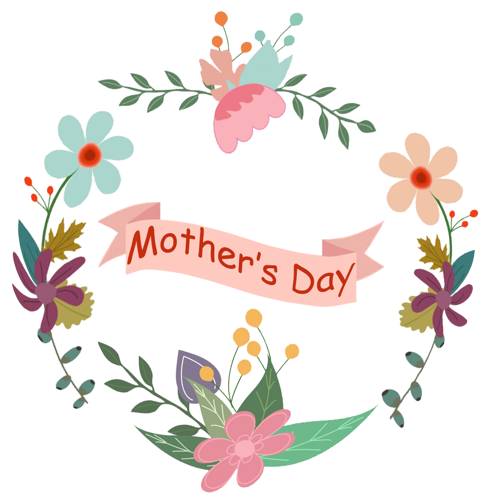 Mother's day banner and flowers