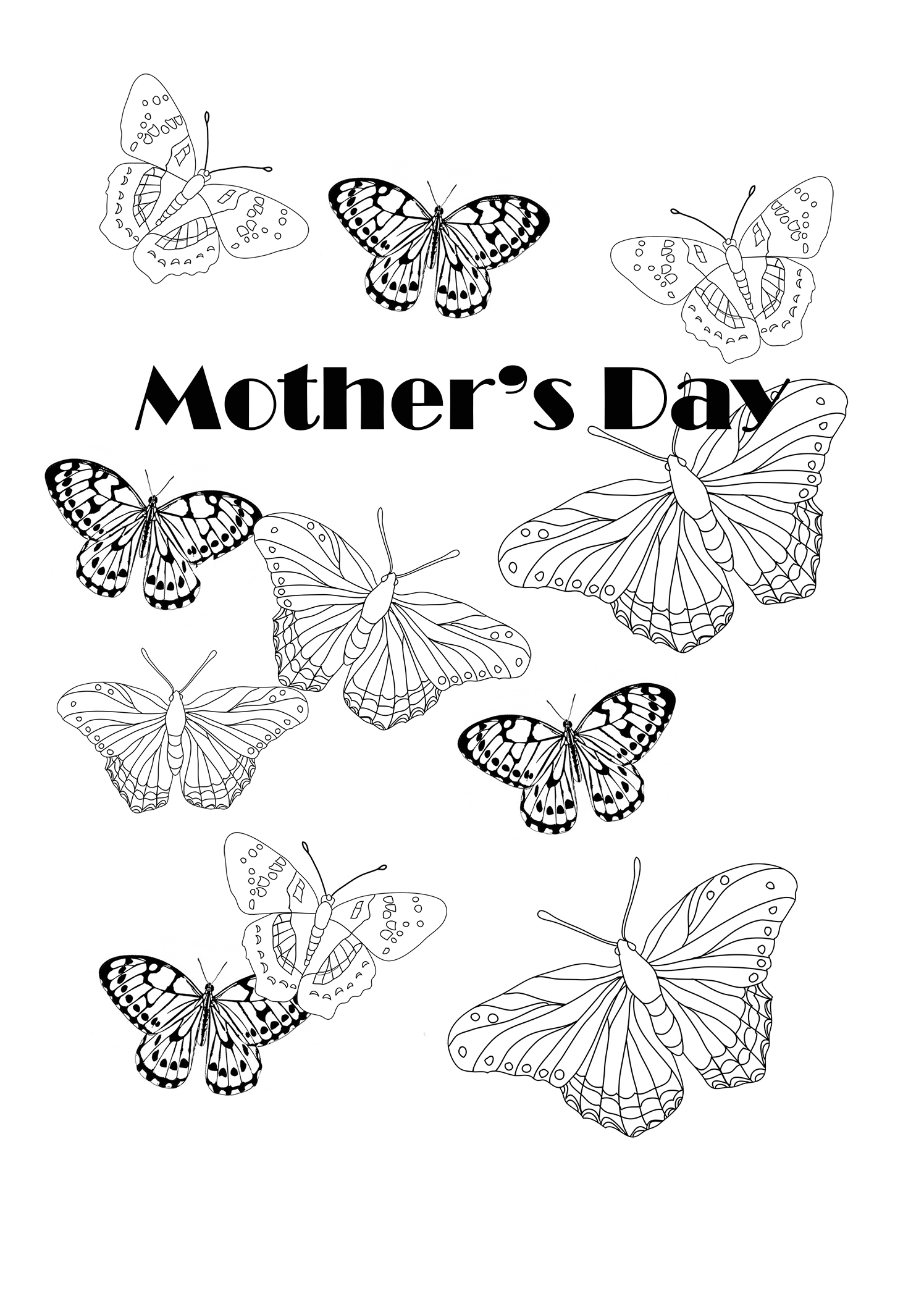 coloring butterflies for mother's day