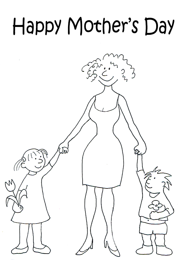 Happy mothers day graphic two children