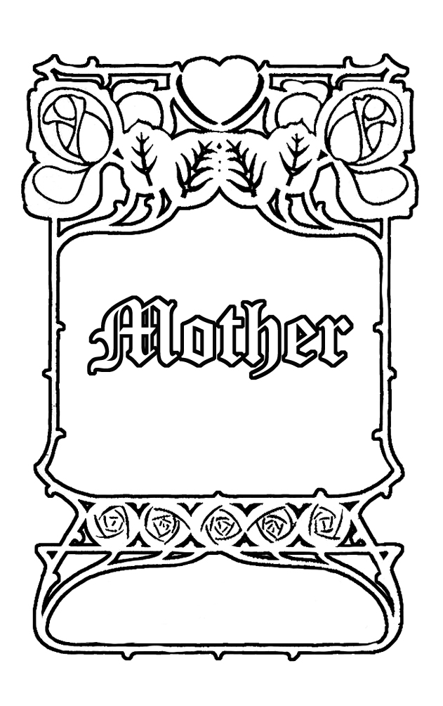 art nouveau style mother's day coloring