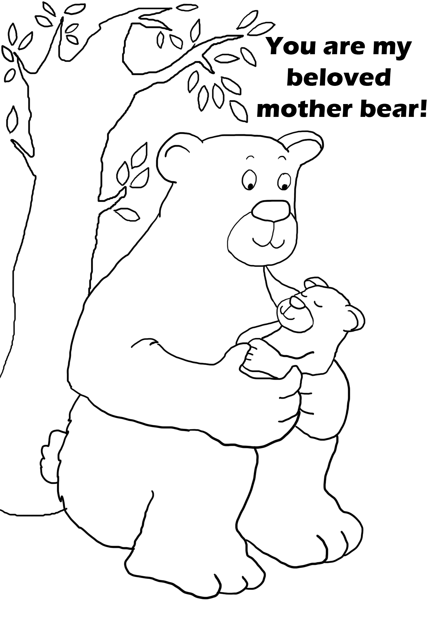 mother's day coloring with mother bear