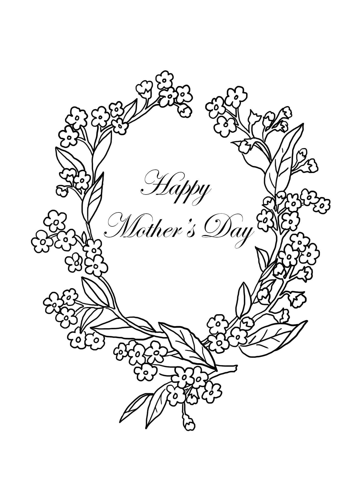 mothers day coloring page with forget-me-not