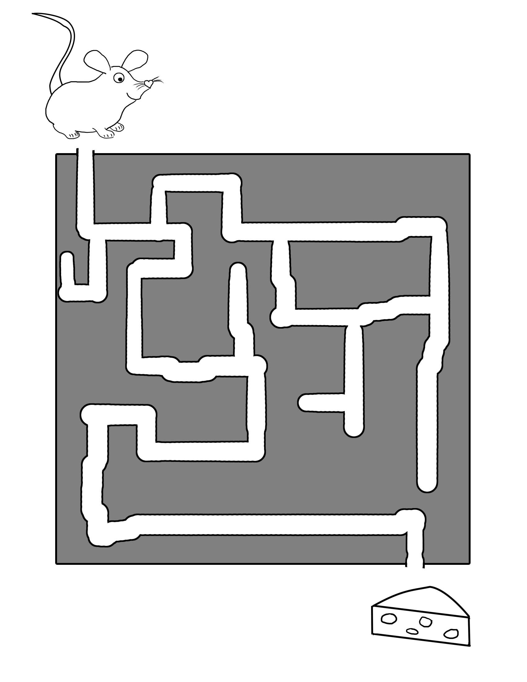 mouse and cheese maze for kindergarten