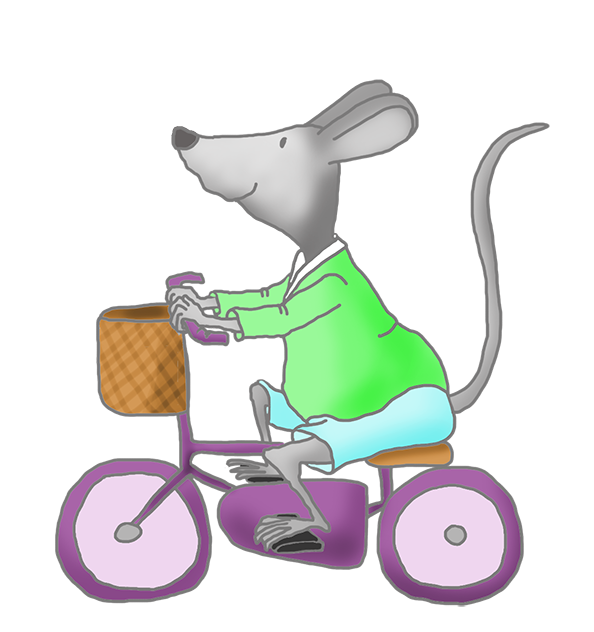 cute mice clip art with bike