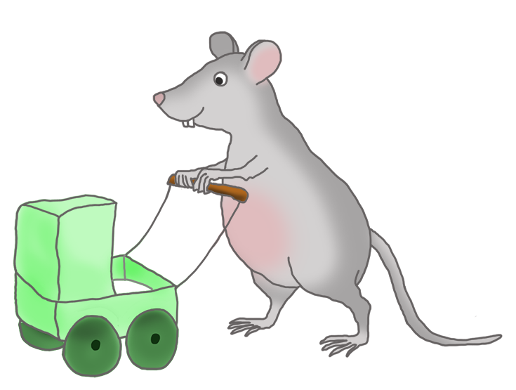 mouse with green pram