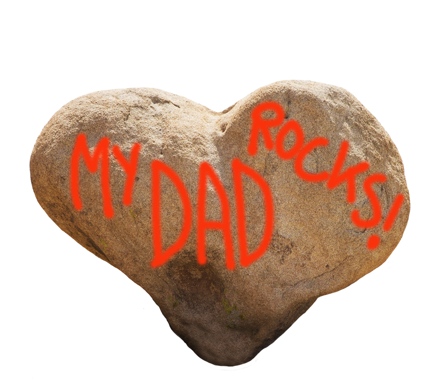 My dad rocks greeting heart shaped stone