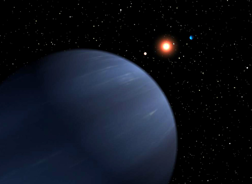 Neptune and stars in space