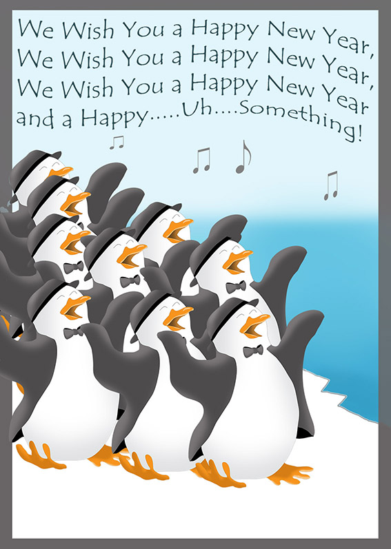 penguin singing New Years card