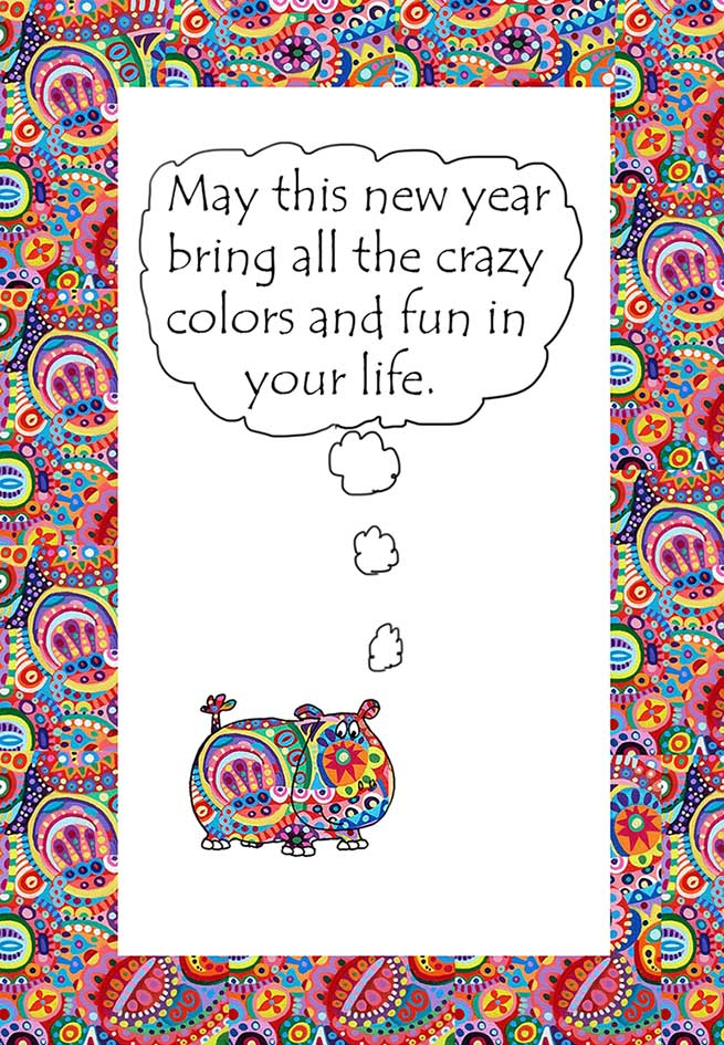 New Year wish with colors and hippo